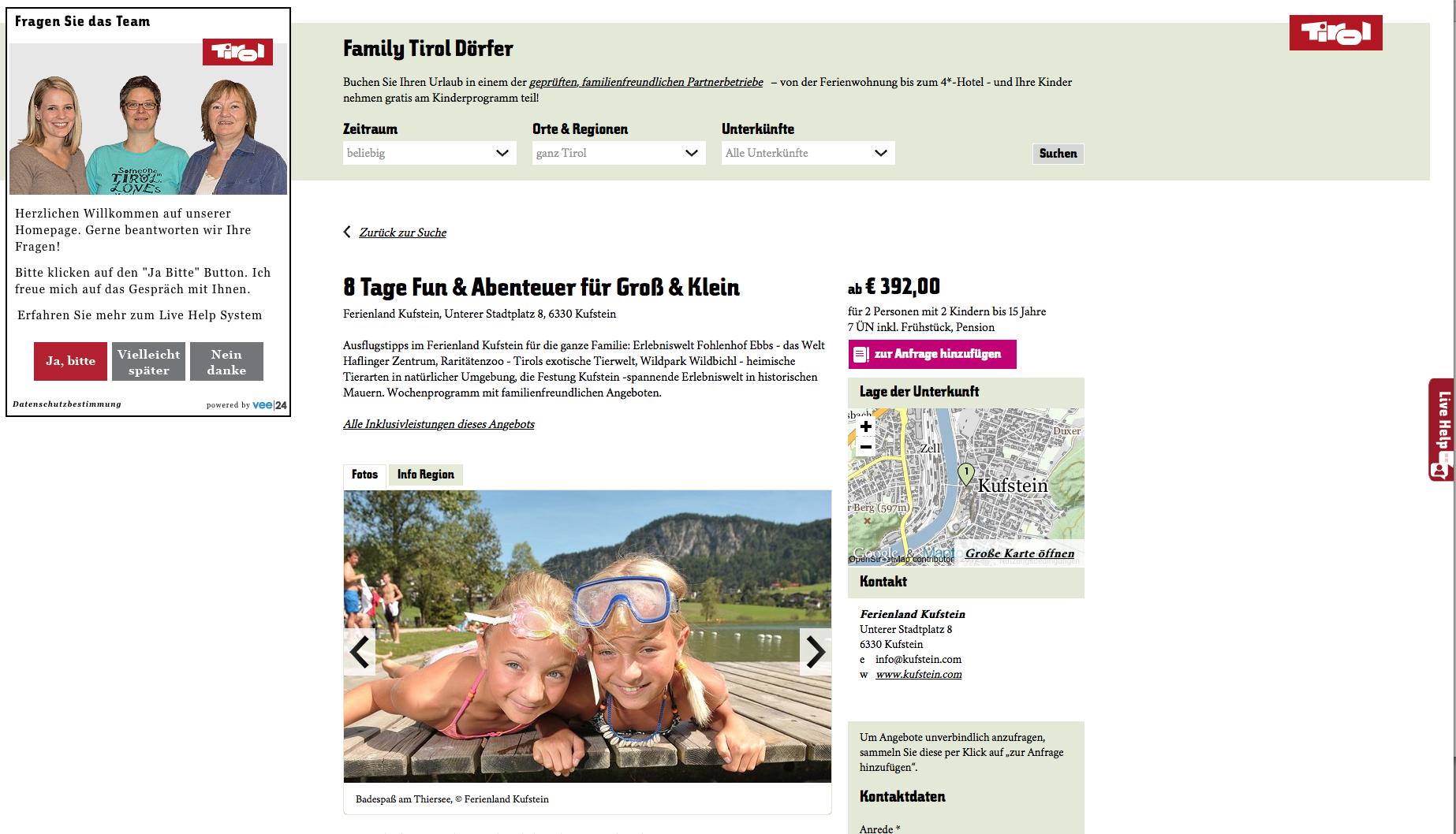 Die veeMultichat Lösung auf den Seiten der Tirol Werbung